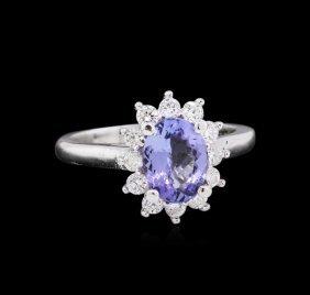 1.58ct Tanzanite And Diamond Ring - 14kt White Gold