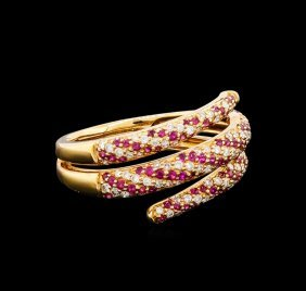 0.37ctw Ruby And Diamond Ring - 18kt Rose Gold