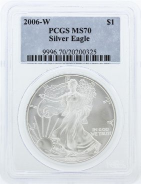 2006-w Pcgs Graded Ms70 Silver Eagle Silver Dollar