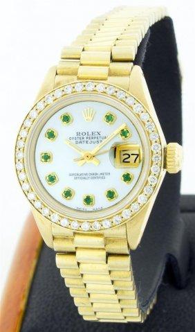 Rolex 18k Gold President Diamond And Emerald Ladies