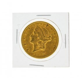 1907-s $20 Au Liberty Head Double Eagle Gold Coin
