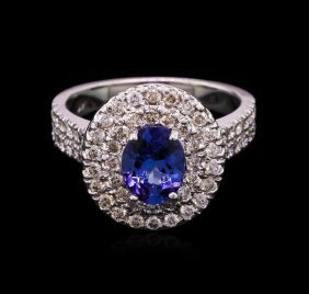 1.50ct Tanzanite And Diamond Ring - 14kt White Gold