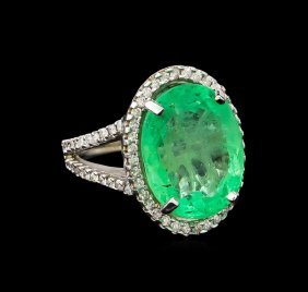 GIA Cert 11.06ct Emerald and Diamond Ring - 14KT White