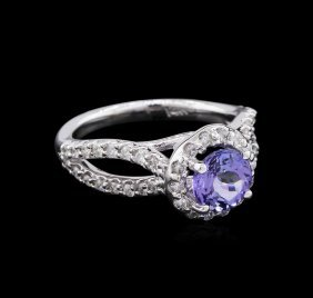 1.22ct Tanzanite And Diamond Ring - 14kt White Gold
