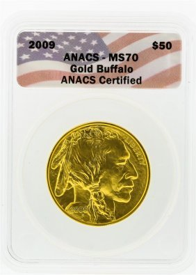 2009 Anacs Ms70 $50 Gold Buffalo Gold Coin