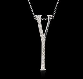 14kt White Gold 0.12ctw Diamond Pendant With Chain