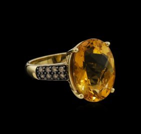 8.17ct Citrine And Diamond Ring - 14kt Yellow Gold