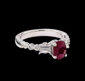 1.60ct Ruby And Diamond Ring - 18kt White Gold