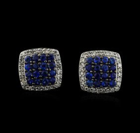 0.93ctw Sapphire And Diamond Earrings - 14kt White Gold