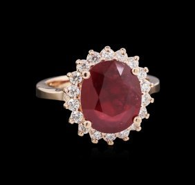 5.23ct Ruby And Diamond Ring - 14kt Rose Gold