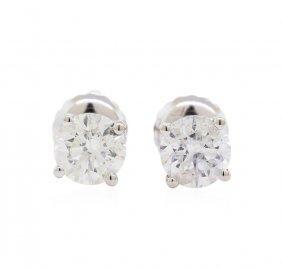 1.02ctw Diamond Stud Earrings - 14kt White Gold