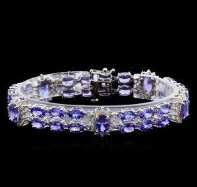 24.48ctw Tanzanite And Diamond Bracelet - 14kt White