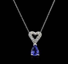 14kt White Gold 0.93ct Tanzanite And Diamond Pendant