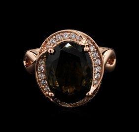 7.05ct Green Tourmaline And Diamond Ring - 14kt Rose