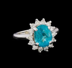 3.15ct Apatite And Diamond Ring - 14kt White Gold