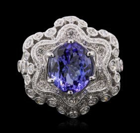 18kt White Gold 3.92ct Tanzanite And Diamond Ring