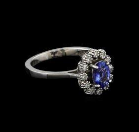0.90ct Tanzanite And Diamond Ring - 14kt White Gold