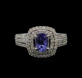 0.82ct Tanzanite And Diamond Ring - 14kt White Gold
