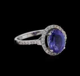 1.89ct Tanzanite And Diamond Ring - 14kt White Gold