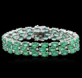 14kt White Gold 28.09ctw Emerald And Diamond Bracelet