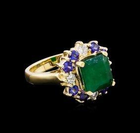 4.25ctw Multi Gemstone And Diamond Ring - 14kt Yellow