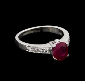 1.20ct Ruby And Diamond Ring - 14kt White Gold