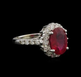 3.45ct Ruby And Diamond Ring - 14kt White Gold