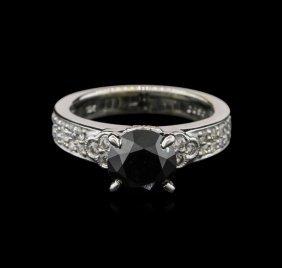 2.43ctw Black Diamond Ring - 18kt White Gold