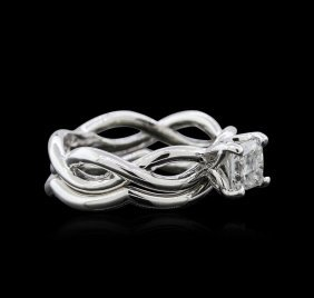 0.90ct Diamond Wedding Ring Set - 18kt White Gold