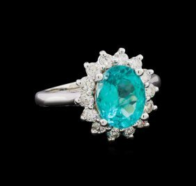 2.63ct Apatite And Diamond Ring - 14kt White Gold