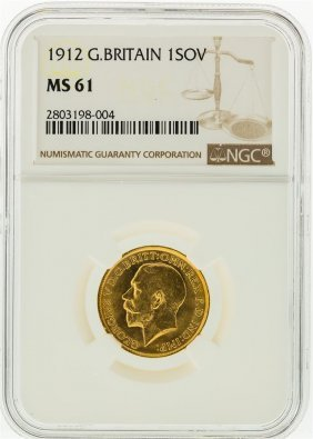 1912 Ngc Ms61 Great Britain 1 Sovereign Gold Coin