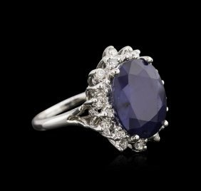 11.82ct Sapphire And Diamond Ring - 14kt White Gold