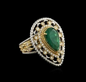 14kt Two-tone Gold 3.05ct Emerald And Diamond Ring