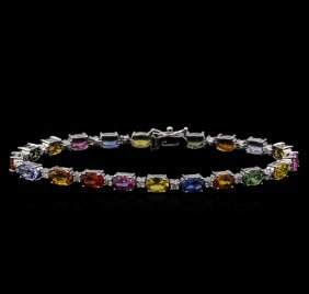 12.20ctw Multi-color Sapphire And Diamond Bracelet -