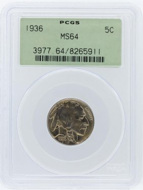 1936 Pcgs Ms64 Buffalo Nickel