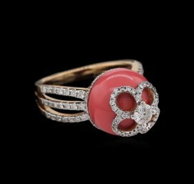 Agate And Diamond Ring - 18kt Rose Gold