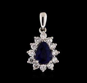0.84ct Sapphire And Diamond Pendant - 18kt White Gold