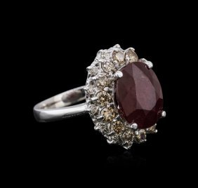 14kt White Gold 6.16ct Ruby And Diamond Ring