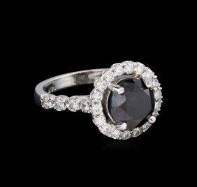 3.76ctw Black Diamond Ring - 14kt White Gold