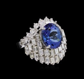 14kt White Gold 6.74ct Tanzanite And Diamond Ring