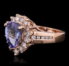 14kt Rose Gold 2.40ct Tanzanite And Diamond Ring