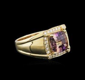 14kt Yellow Gold 4.51ct Ametrine And Diamond Ring