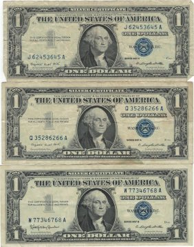1957 $1 Silver Certificate Currency Lot Of 3