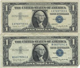 1957 $1 Silver Certificate Currency Lot Of 2
