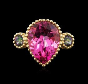 9.86cts Pink Zircon And Mystic Topaz Ring - 14kt Yellow