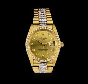 Rolex 14kt Yellow Gold 4.00ctw Diamond Date Men's Watch