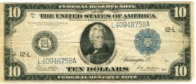 1914 $10 Blue Seal Federal Reserve Note