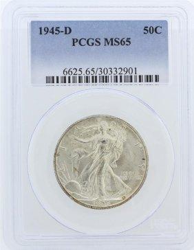 1945-d Pcgs Ms65 Liberty Walking Half Dollar