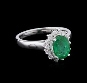 1.59ct Emerald And Diamond Ring - 14kt White Gold