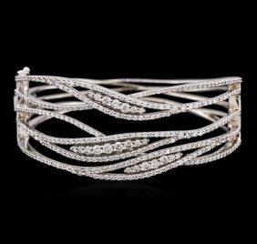 14kt White Gold 3.99ctw Diamond Bangle Bracelet